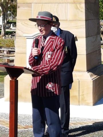 Ipswich Grammar School Student Delivering address Re past pupils at Fromelles Battle