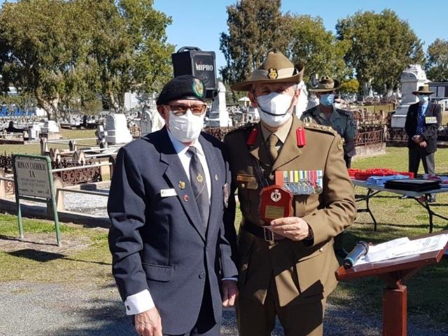 President Brisbane Branch Ray Fogg with  Brigadier Bill Date